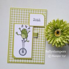 So Hoppy Together. A Sale-A-Bration stamp which has a frog on a unicycle. Independent Stampin' Up! Kids Birthday Cards, Handmade Birthday Cards, Handmade Cards, Frog On A Unicycle, Baby Cards, Kids Cards, Cute Frogs, Animal Cards, Cards For Friends