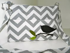 Mac Book Laptop sleeve 13 INCH / Zipper close,  PC shoulder bag, Removable  Strap, Gray and white Chevron, Bird applique,  by Darby Mack