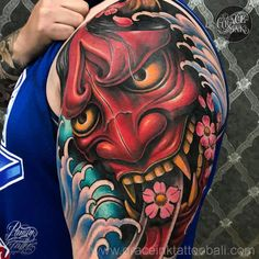 Things To Know About The Oni Mask Tattoo ( Gallery ) Japanese Snake Tattoo, Japanese Tattoo Designs, Japanese Sleeve Tattoos, Tattoo Designs Men, Hanya Mask Tattoo, Samurai Mask Tattoo, Upper Arm Tattoos, Arm Tattoos For Guys, Hannya Maske