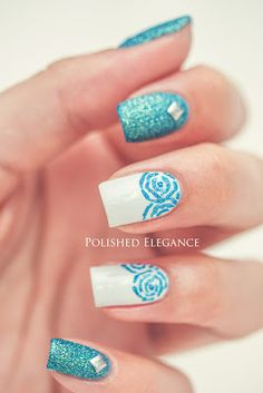 white & blue nail art ideas - OPI My Boyfriend Scales Walls & IsaDora Ocean Crush