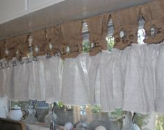 Burlap Valance, Ruffle Curtains, Tab Curtains, Burlap Pillows, White Curtains, Curtains Living, Country Curtains, Beautiful Curtains, Curtain Designs