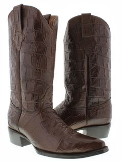 mens brown full crocodile alligator big belly western leather cowboy boots rodeo