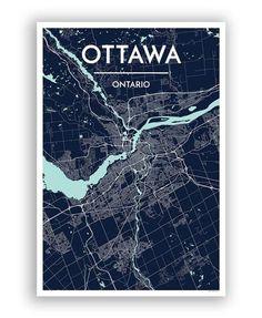 Ottawa City Map Print street wall art
