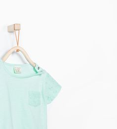 Image 3 of Organic cotton embroidered  sleeves and pocket T-shirt from Zara