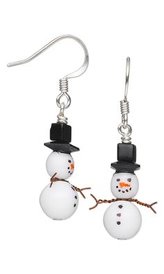 Snowman Earrings with Czech Pressed Glass Druk Beads, Swarovski Crystal Beads, Seed Beads and Wire Wrap