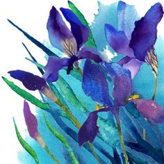 Watercolor Background, Abstract Watercolor, Watercolour Painting, Watercolor Flowers, Watercolors, Art Floral, Iris Painting, Art Aquarelle, Iris Flowers