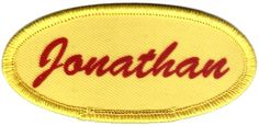 """Oval 1.5"""" x 3.25"""" OE1 PrintMate™ Custom Sublimated Patches -- Enmart Online Store - Every mechanic,  shop worker, heck everyone who wears a uniform needs a name patch.  We can make them for you, quickly and relatively inexpensively."""