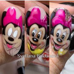 Nail Art Hacks, 3d Nail Art, Animal Nail Designs, Nail Art Designs, Sassy Nails, Cute Nails, Girls Nails, Pink Nails, Mickey Mouse Nails