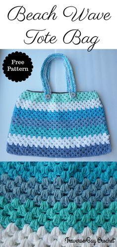 Beach Wave Crochet Tote Bag  