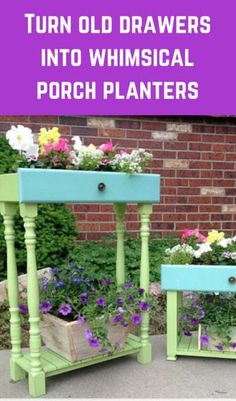 Turn Old Drawers Into Whimsical Porch Planters