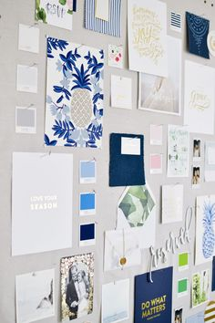 Love the blues.and that Pineapple print. I spy some Emily Ley art prints, too! Home Office Design, Office Decor, Office Inspo, Wedding Planner Office, Emily Ley, Ikea Home, Layout, Home Office Furniture, Home Decor Inspiration