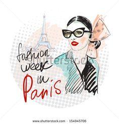 Fashion young girl. - stock vector id 154945706