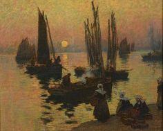 "Fernand LEGOUT-GERARD (1854-1924) ""Cotriade au soleil couchant"" pastel"