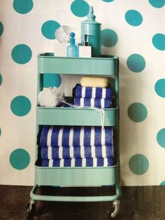 Do I really want to waste my money on junk from Ikea? This is too cute to pass up, though. Possibly if/when the remodel happens? Great for when we host guests! {From Real Simple June Raskog Ikea kitchen cart for a guest bathroom} Raskog Ikea, Ikea Grundtal, Ikea Furniture, Cool Furniture, Ikea Cart, Deco Retro, Apartment Living, Apartment Therapy, Apartment Ideas