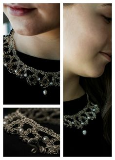 Hand crocheted retro collar made with pure Argentium wire, freshwater pearls and black glass beads. Reminds me of my grandmother! Crochet Collar, Hand Crochet, Silver Necklaces, Pearl Necklace, Black Glass, Wedding Jewelry, Glass Beads, Wire, Pure Products