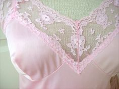1960's Full Slip Pink Lace Lingerie Nightgown Hand by TenderLane, $32.00