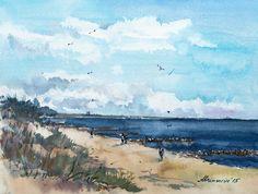 Ostseeküste.Kalter Morgen am FKK-Strand :) Original handmade aquarelle von abramarin auf Etsy