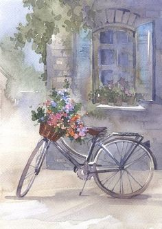 Thank you for visiting my Boards, Please Pin as much as you like, I hope you find something that inspires you❣️😊 Watercolor Landscape, Watercolor Print, Watercolor Paintings, Watercolors, Bicycle Painting, Bicycle Art, Beautiful Paintings, Painting Inspiration, Art Pictures