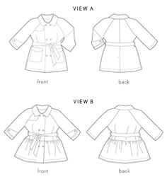 I love that these patterns come with paper doll version too- trench coat sewing pattern