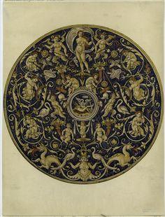 """Print - Italian majolica plate - 1892. Notes : Written on border: """"Collection Spitzer. Vol. IV. Paris, 1892. Les Faiences Italiennes. Pl. II. XVIe siècle. Grand Plat creux: Fabrique de Caffaggiolo, Italie."""""""