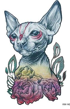 A really cute colorful SPHYNX CAT temporary tattoo and this will be great for this summer.. Measurements is 8 inches high by 6 inches wide and great for the back arm or leg or to your liking,it anytime use just to show off your tat..Buyer pays shipping and taxes of 8% thank you for