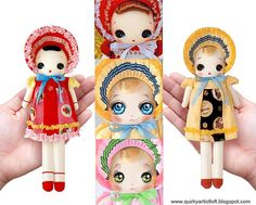 Printable pattern for an adorable authentic Bunka doll, Japanese Folk Doll, with dress and bonnet. Also includes painting guides for the dolls