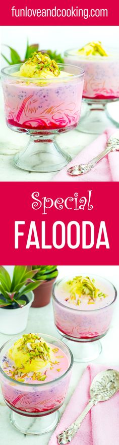 Falooda is a very popular cold beverage in Indian subcontinent. It is a version of Persian dessert known as Faloodeh during the period of Mughal. There are different version of Falooda recipe you will find, like mango Falooda, rabdi Falooda, firni Falooda Indian Dessert Recipes, Indian Sweets, Indian Recipes, Pavlova, Persian Desserts, Falooda Recipe, Delicious Desserts, Yummy Food, Ramadan Recipes