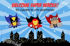Super Heroes party printable PERSONALIZED poster backdrop
