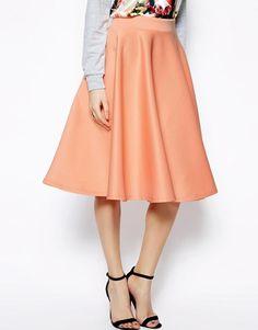 ASOS | ASOS Full Midi Skirt In Scuba With Pockets at ASOS