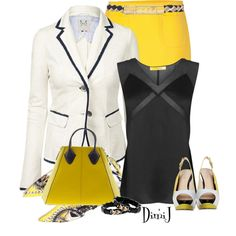Office Look by dimij on Polyvore...I so want that skirt!!!