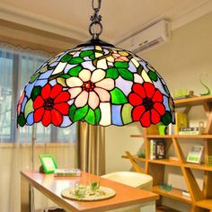 BYB Tiffany Style 2 Light Ceiling Pendent Fixture Hanging Pendant Ceiling Lamp