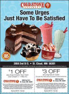 $3 OFF @ Cold Stone Creamery #CentralMN #Deals