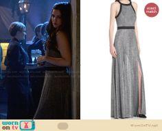 Davina's grey maxi dress with black trim on The Originals.  Outfit Details: http://wornontv.net/29181/ #TheOriginals