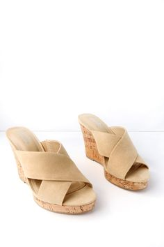 57edc65f344a Charles David LATRICE NUDE SUEDE WEDGE SANDALS Nude Wedges