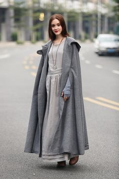 """[Christmas Gift] Buy 2 or more items and receive 10% OFF one item! Please use promo code love10. Buy $500 and get 15% per item! Please use promo code """"love15"""" maxi wool cape in winter. fully lined. soft and beautiful. military style button panel flattering dress bottom oversized hood"""