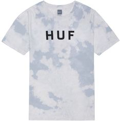 HUF The Bleach Wash Original Logo Tee in White ($34) ❤ liked on Polyvore featuring men's fashion, men's clothing, men's shirts, men's t-shirts, white, j crew mens shirts, mens white t shirts, mens cotton t shirts, mens white shirts and mens patterned shirts