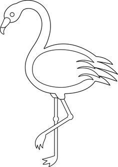 Colorable Flamingo - Free Clip Art