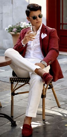 Men Clothing Summer suiting inspiration with cream trousers red linen blazer red driver loafers no show socks watch white button up shirt white cotton pocket square sunglasses Blazer Outfits Men, Red Blazer, Sport Outfits, Red Sports Coat, Red Shoes Outfit, Red Coat Outfit, Mens Red Shoes, Terno Slim, Suits And Sneakers