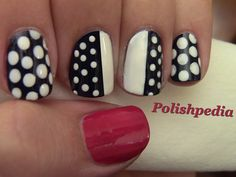 """Polishpedia.com """"We loved doing this polka dot nails design!""""     You can learn how to by clicking the image or going to http://polishpedia.com/chic-polka-dot-nails-blogger-monday.html for our how to tutorial.    If you have any nail art suggestions or requests, please let us know.    Polka Dots, Nails, Nail Art"""
