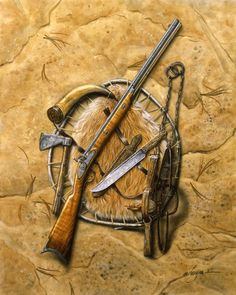 The Frontier Art of Michael Haynes - Frontier Partisans - Liver Eatin' Johnson's Hawken Rifle, sheath knife and accoutrements. Bushcraft, Mountain Man Rendezvous, Flintlock Rifle, Black Powder Guns, Man Gear, Fur Trade, Hunting Rifles, Westerns, Guns And Ammo