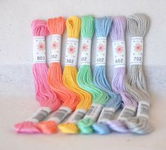 "Embroidery Floss ""Frosting Pallete"" - 7 Skeins Pack - Embroidery Thread by Sublime Floss"