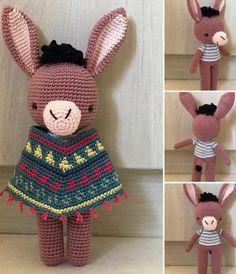Amigurumi Crochet Donkey Free Pattern - Amigurumi Free Patterns and Amigurumi Tutorials Love Crochet, Crochet For Kids, Crochet Designs, Crochet Patterns, Crochet Dolls, Crochet Hats, Amigurumi Tutorial, Felt Toys, Crochet Animals