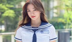 Lee Chaeyoung from Idol School Dragon Family, Girls Uniforms, How To Relieve Stress, Pop Group, Sailor, Rapper, Rain Jacket, Windbreaker, Stress Reliever