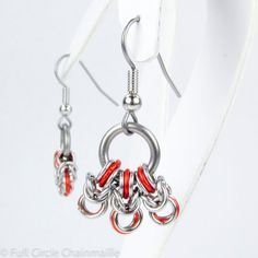 Orange Byzantine  Chainmaille Earrings by fullcirclechains on Etsy, $24.00 Love the orange POP of color!