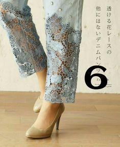 Diy Clothes Refashion Jeans Lace 54 Ideas For 2019 Denim Fashion, Fashion Pants, Trendy Fashion, Fashion Dresses, Fall Fashion, Jean Diy, Salwar Pants, Jeans Kurti, Hijab Jeans