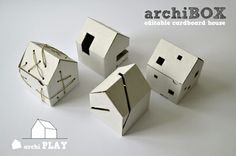 """archiBOX / Simple cardboard box in the shape of a house. House initiates """"little architects"""" play – suitable for all kinds of shape and surface interventions like -  painting, gluing, perforating, cutting,  stacking, packing... all the way to a child's own city!"""