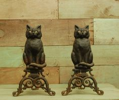 vintage victorian andirons fireplace cast iron black cats early 1900s