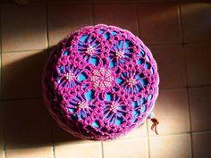 ビーズ編みの鉢カバーの底・・・吊れるタイプ