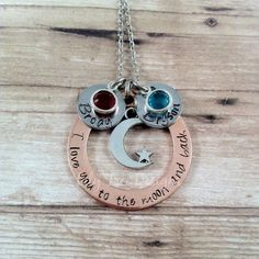 I Love You to the Moon and Back Hand Stamped Necklace - Mother Necklace - Grandmother Necklace - Birthstones -