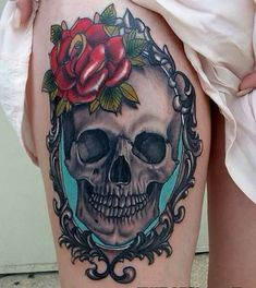Skull and rose in a frame, I'd love this.